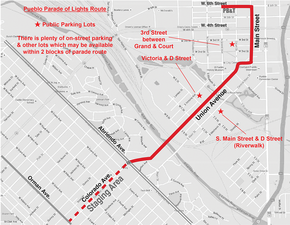 Pueblo Parade Of Lights Route Map Pueblo Colorado Parade Of Lights
